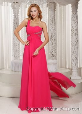 Hot Pink One Shoulder Ruched Bodice Customize Prom Dress With Beading Chiffon Watteau Train