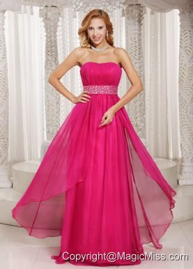 Hot Pink Column Strapless Beading and Ruch 2013 Prom Dress Party Style