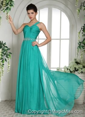Wholesale Turquoise One Shoulder Prom Celebrity Dress With Ruch and Beading In Ohio