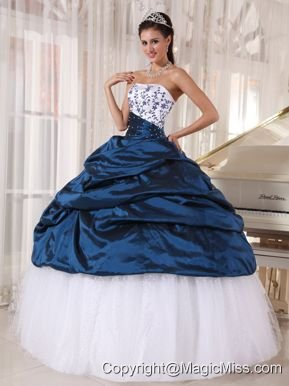 Beautiful Ball Gown Strapless Floor-length Taffeta and Tulle Embroidery Quinceanera Dress
