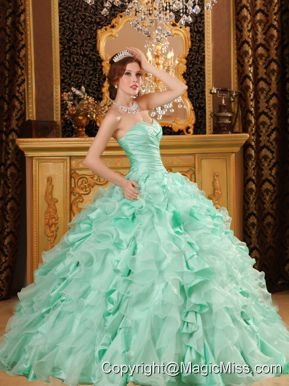 Luxurious Ball Gown Sweetheart Floor-length Ruffles Organza And Taffeta Apple Green Quinceanera Dress