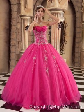 Hot Pink Ball Gown Floor-length Organza Beading Quinceanera Dress