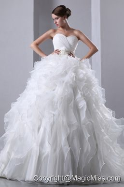 Wonderful A-line Sweetheart Chapel Train Taffeta and Organza Beading and Ruffles Wedding Dress