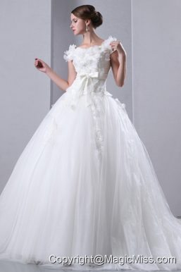 Beautiful A-line Scoop Cathedral Train Taffeta and Tulle Appliques and Hand Made Flowers Wedding Dress