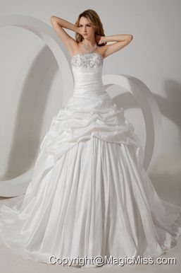 Romantic Ball Gown Strapless Court Train Taffeta Beading Wedding Dress