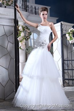 Perfect Mermaid One Shoulder Floor-length Tulle Beading and Appliques Wedding Dress