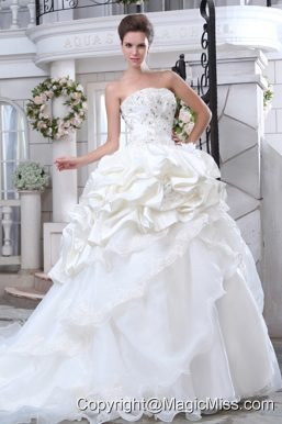 Pretty A-line Strapless Chapel Train Organza Beading and Appliques Wedding Dress