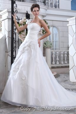 Pretty A-line One Shoulder Court Train Organza Ruch and Hand Made Flowers Wedding Dress