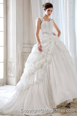 Low Price Princess Straps Court Train Taffeta Beading and Appliques Wedding Dress