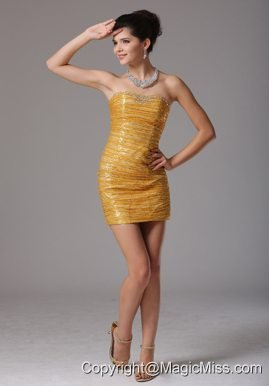 2013 Cute Gold Paillette Over Skirt Prom Cocktail Dress With Beading In Colorado