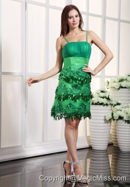 Green Column Straps Mini-length Satin Appliques Prom Dress