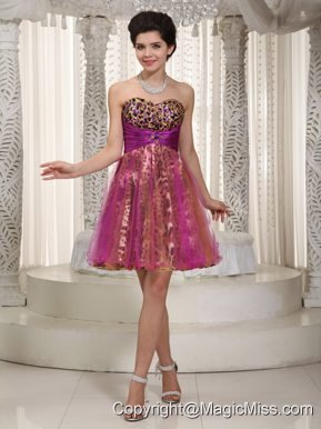 Colorful A-line / Pricess Sweetheart Mini-length Organza and Leopard Beading Prom / Homecoming Dress