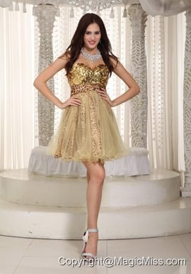 Champagne A-line / Princess Sweetheart Mini-length Organza Sequins Prom / Cocktial Dress