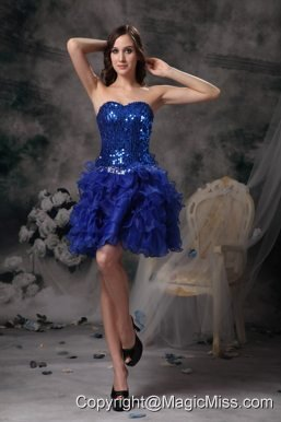 Blue Ball Gown Sweetheart Mini-length Organza Beading Prom / Homecoming Dress