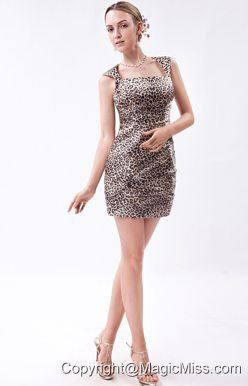 Elegant Column Straps Mini-length Zebra Prom Dress