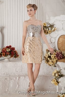 Champagne Column Sweetheart Mini-length Sequin Beading Prom Dress