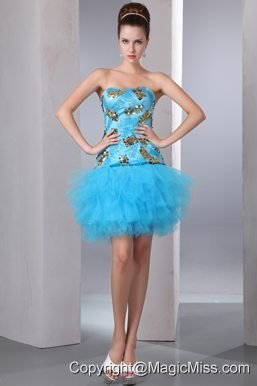 Aqua Blue A-line Strapless Mini-length Tulle and Taffeta Sequins Prom Dress