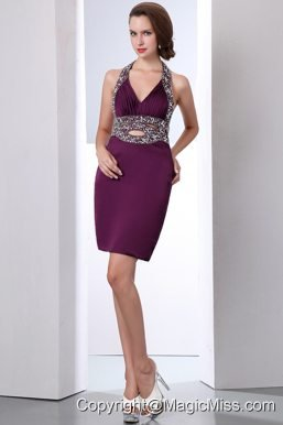 Purple Column Halter Mini-length Taffeta Beading Prom Dress