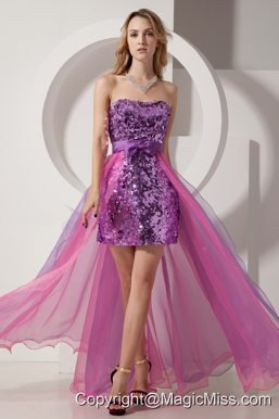 Purple and Pink Column Strapless High-low Sequin and Chiffon Prom Dress