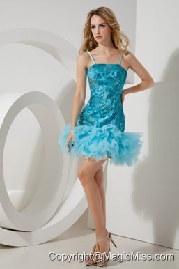 Aqua Blue A-line / Pricess Straps Mini-length Tulle and Sequin Prom / Homecoming Dress