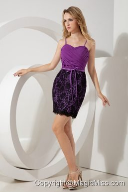 Purple Column Straps Mini-length Lace Ruch Prom / Homecoming Dress