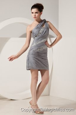 Grey Column One Shoulder Mini-length Chiffon Beading Prom Dress
