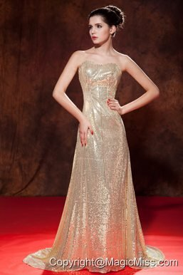 Luxurious Champagne Evening Dress Empire Sweetheart Sequin Brush Train