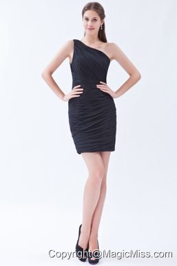 Black Column / Sheath One Shoulder Mini-length Chiffon Pleats Prom Dress