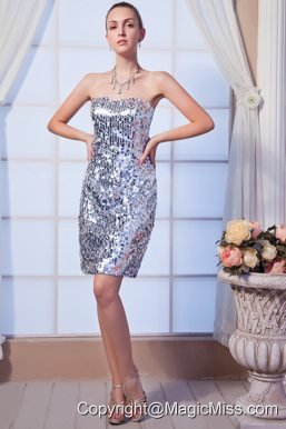 Gray Column Strapless Mini-length Sequin Beading Prom Dress