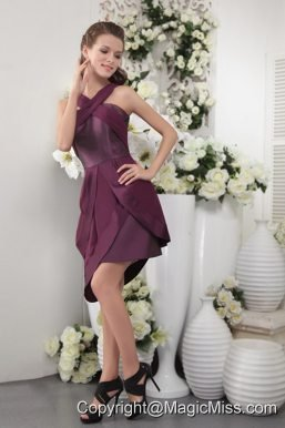 Purple Column / Sheath Asymmetrical Short Satin and Chiffon Bridesmaid Dress