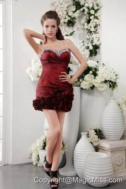 Wine Red Column Sweetheart Short Taffeta Beading Prom / Homecoming Dress