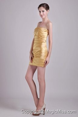Gold Column Strapless Short Taffeta Ruch Prom / Cocktail Dress