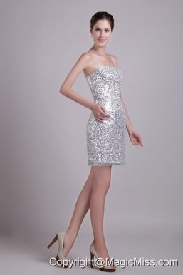 Silver Column Strapless Short Sequins Prom / Cocktail Dress