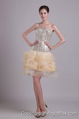 Champagne A-line Sweetheart Short Organza and Sequins Prom / Cocktail Dress