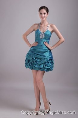 Teal A-Line / Princess Halter Mini-length Taffeta Rhinestone Prom / Cocktail Dress