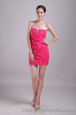 Hot Pink Column/Sheath Strapless Mini-length Chiffon Beading Prom Dress