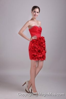 Red Column/Sheath Sweetheart Mini-length Satin Beading Prom Dress