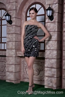 Black Column Strapless Mini-length Taffeta Sequins and Beading Cocktail Dress