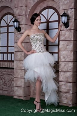 White Column Strapless High-low Beading Taffeta and Tulle Prom Dress