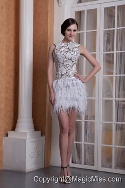 White Column Scoop Mini-length Feather Cocktail Dress