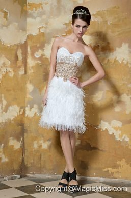 White Column Sweetheart Knee-length Beading Prom Dress