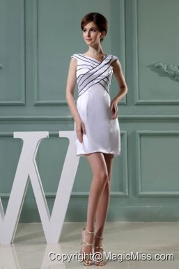 Asymmetrical Column Mini-length Taffeta White Bridesmaid Dress