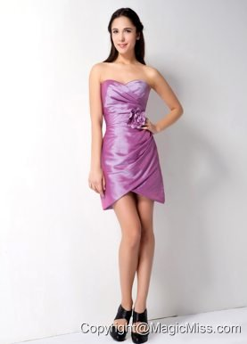Lavender Column Sweetheart Mini-length Taffeta Hand Made Flower and Ruch Homecoming Dress