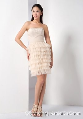 Champagne Column Strapless Mini-length Taffeta and Tulle Ruffled Layers Cocktail Dress