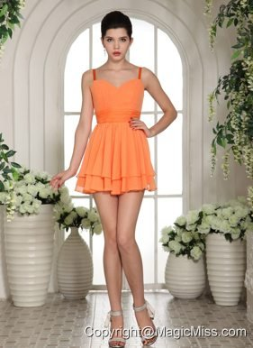 Orange Mini-length Straps Club Cocktail Dress In Madison