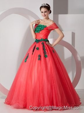 Coral Red Princess Off The Shoulder Floor-length Organza Appliques Prom Dress