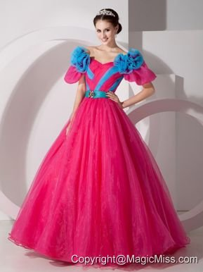 Red A-line V-neck Floor-length Organza Hand Made Flowers Prom Dress