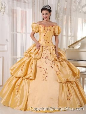 Gold Ball Gown Off The Shoulder Floor-length Taffeta Embroidery Quinceanera Dress