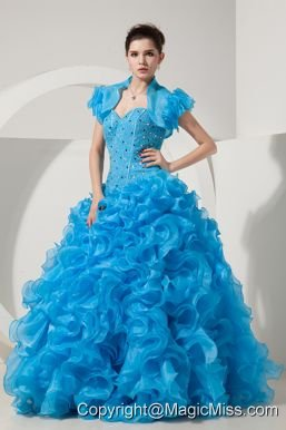 Baby Blue A-line / Princess Sweetheart Floor-length Organza Beading Prom Dress