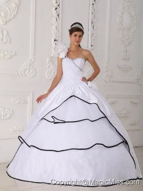 White Ball Gown One Shoulder Neck Floor-length Taffeta and Organza Beading Quinceanera Dress
